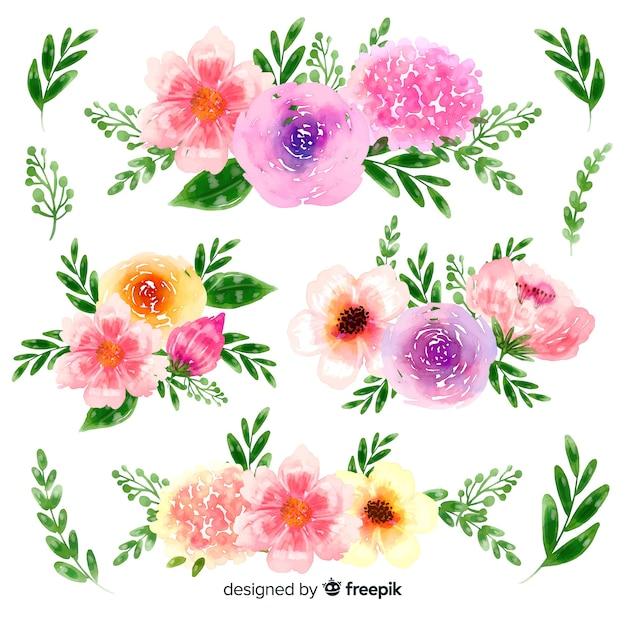 Нарисованная вручную коллекция акварельных цветочных букетов Бесплатные векторы