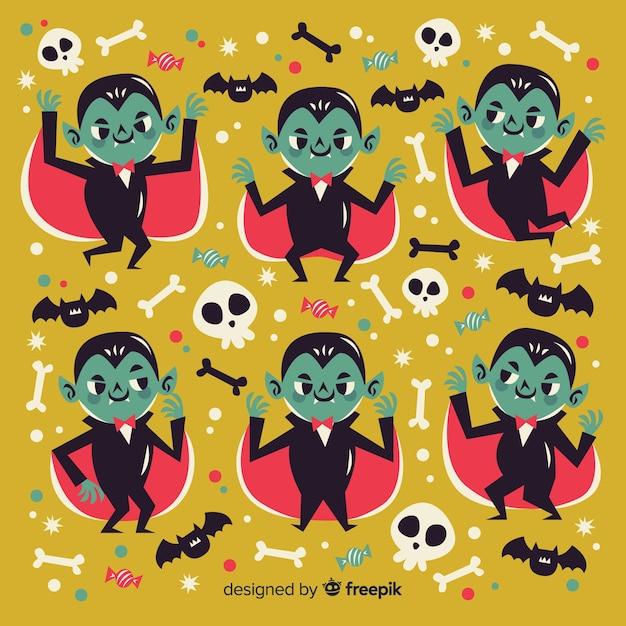 Плоский персонаж-вампир с накидкой Бесплатные векторы