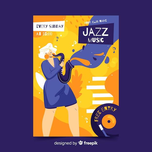 手描きのジャズ音楽ポスターテンプレート 無料ベクター