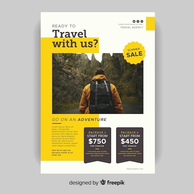 Шаблон путешествий с нами флаер с фото Бесплатные векторы