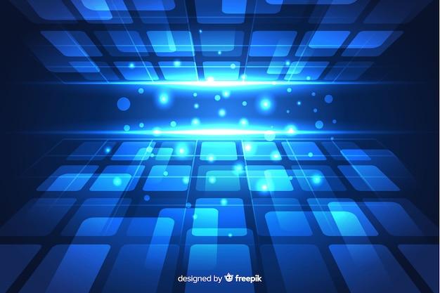図形と青い未来の地平線の背景 無料ベクター