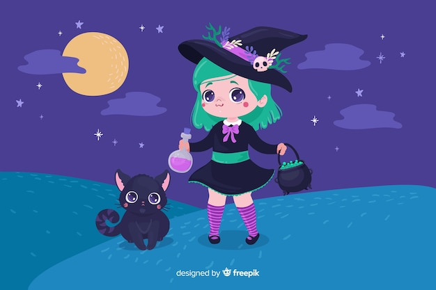 Милая ведьма хэллоуин с кошкой Бесплатные векторы
