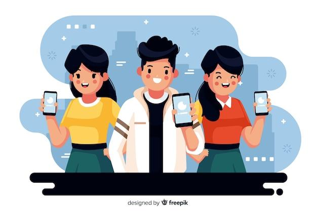 携帯電話を見て若い人たちのカラフルなイラスト 無料ベクター