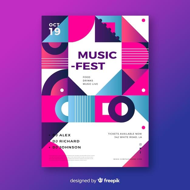 Музыкальный фестиваль геометрического музыкального плаката Бесплатные векторы