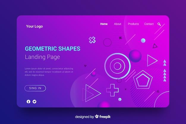 グラデーションの幾何学的図形のランディングページ 無料ベクター