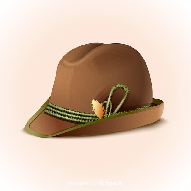 現実的なオクトーバーフェストの伝統的な帽子 無料ベクター