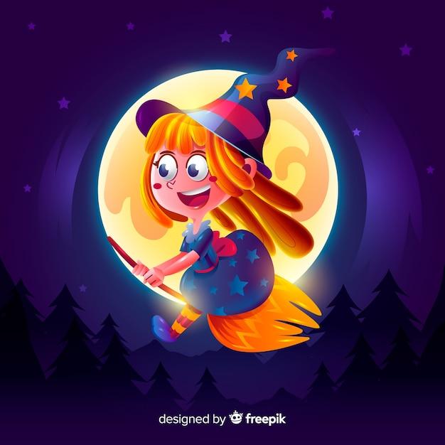 現実的な漫画ハロウィーン魔女 無料ベクター