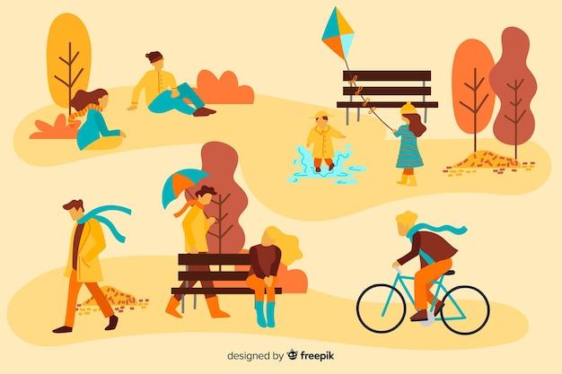 Люди в осеннем парке Бесплатные векторы