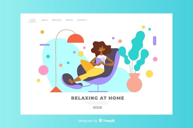 Расслабляющая дома концепция для целевой страницы Бесплатные векторы