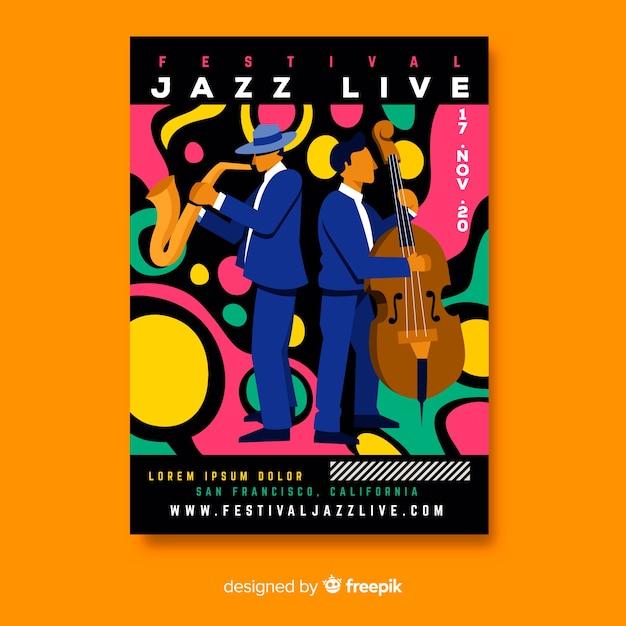 Нарисованный вручную шаблон постера живой музыки в стиле джаз Бесплатные векторы