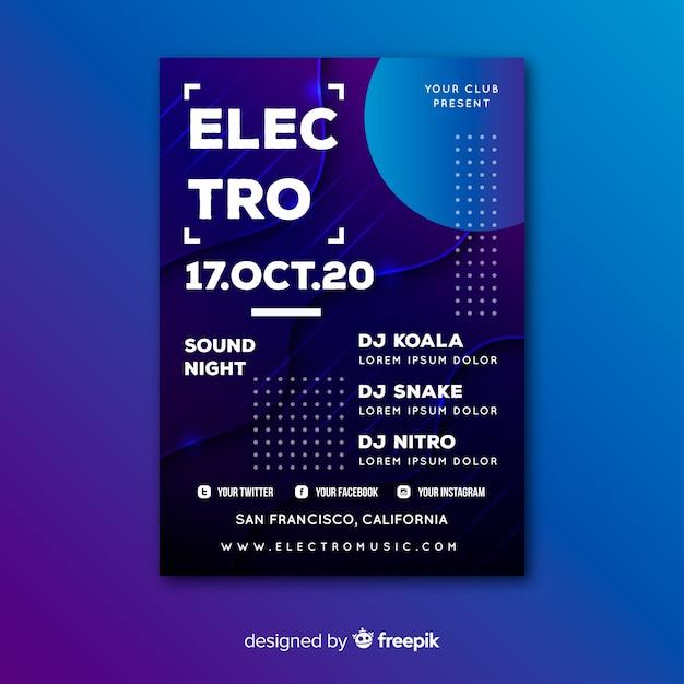Шаблон электро абстрактного музыкального постера Бесплатные векторы