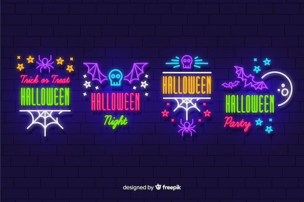 Хэллоуин неоновая вывеска Бесплатные векторы