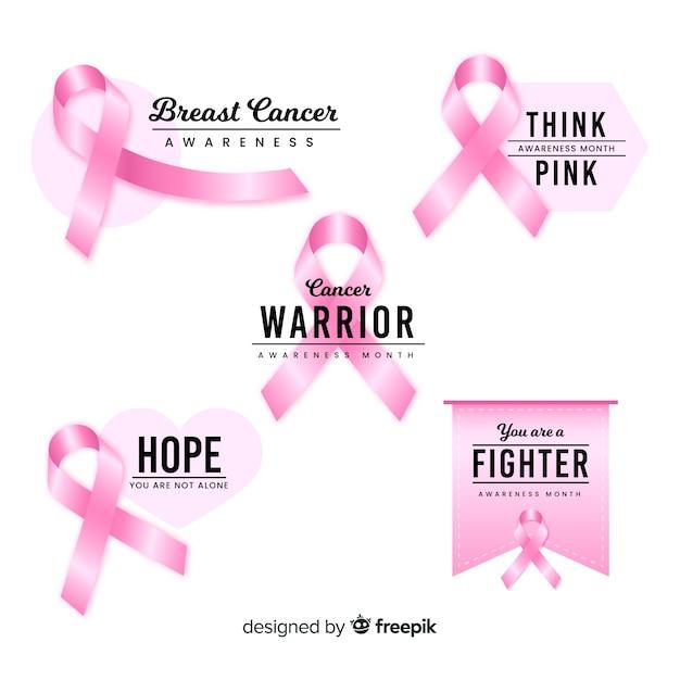 やる気を起こさせる乳がん啓発バッジコレクション 無料ベクター
