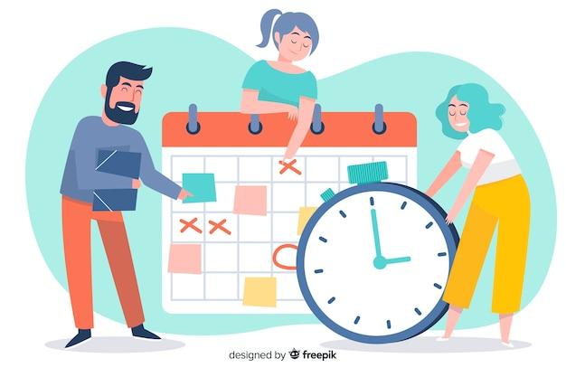 ランディングページの時間管理の図解概念 無料ベクター