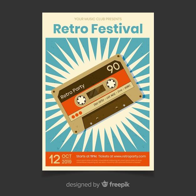 レトロなフェスティバル音楽ポスターテンプレート 無料ベクター