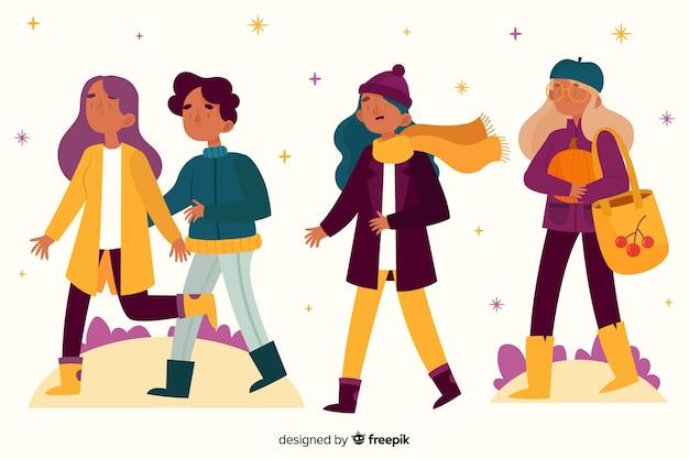 Молодые люди гуляют в парке Бесплатные векторы