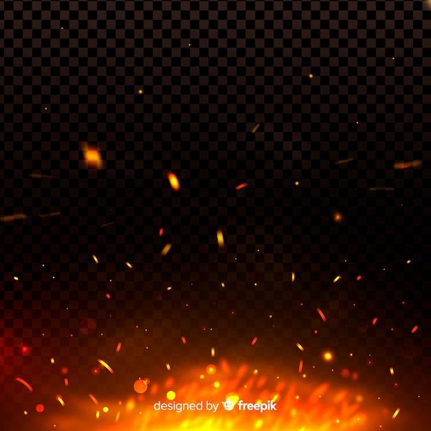 火は暗闇の中で光る効果を火花します 無料ベクター