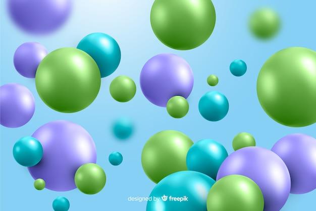 現実的な光沢のあるプラスチックボールの背景 無料ベクター