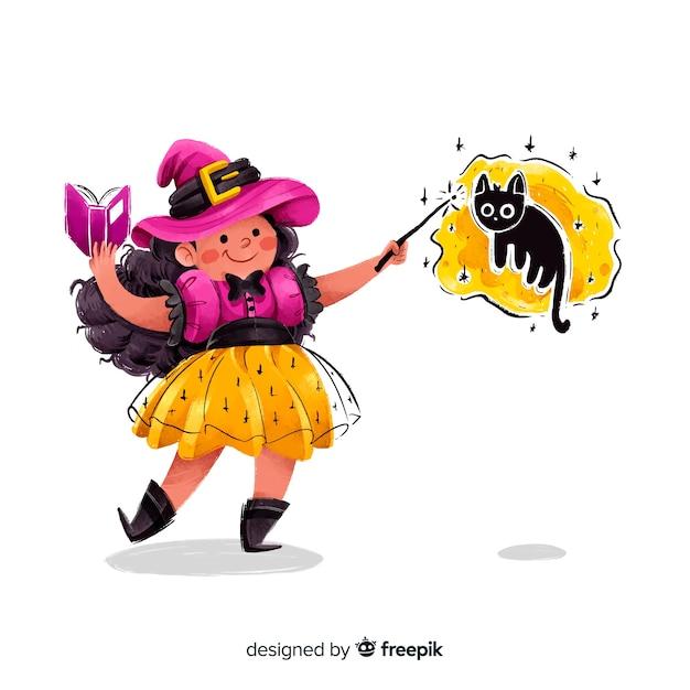 魔法を作るかわいいハロウィーン魔女 無料ベクター