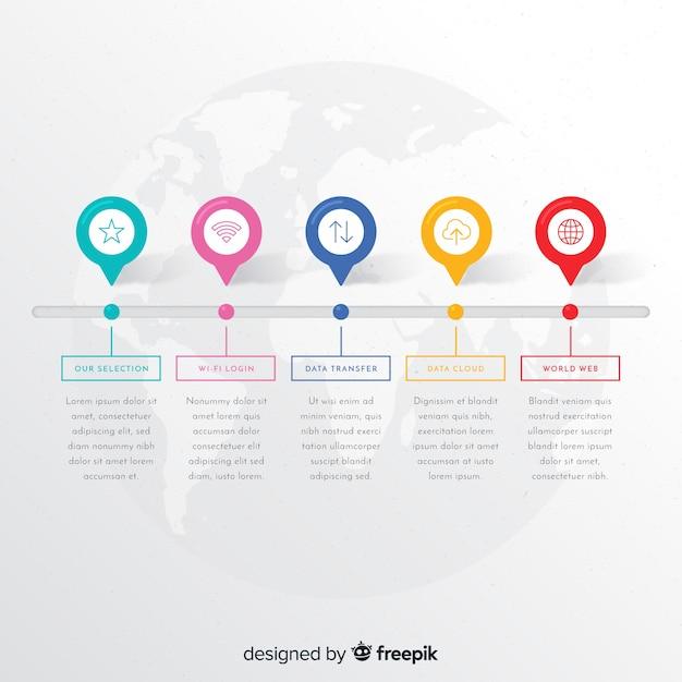 Шаблон красочные инфографики шаги Бесплатные векторы