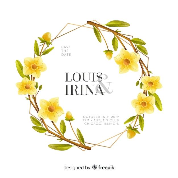 Красивая акварель цветочная рамка свадебное приглашение Бесплатные векторы