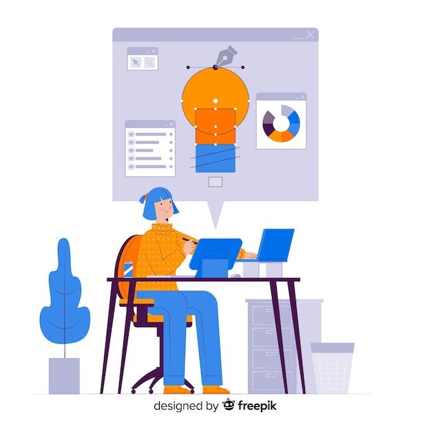 コンセプトランディングページのデザインプロセス 無料ベクター