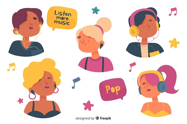 音楽を聴く若者 無料ベクター