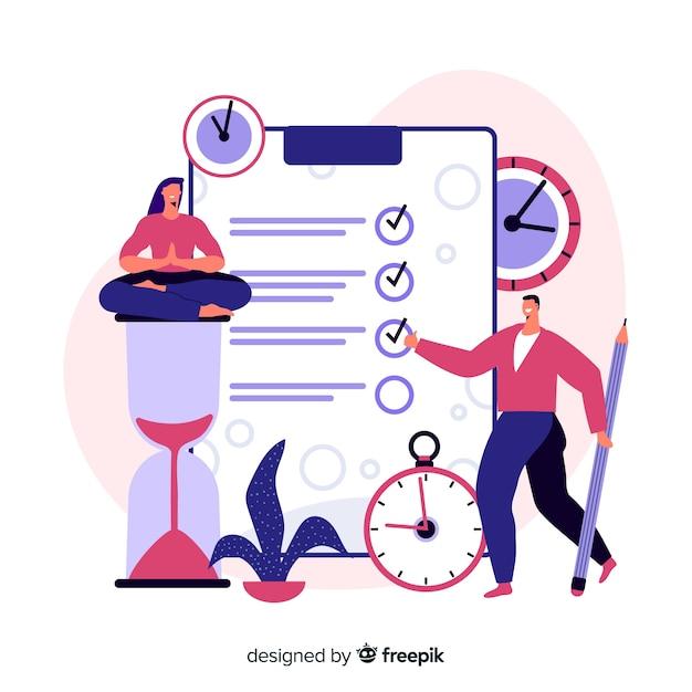 時間管理のランディングページの概念 無料ベクター