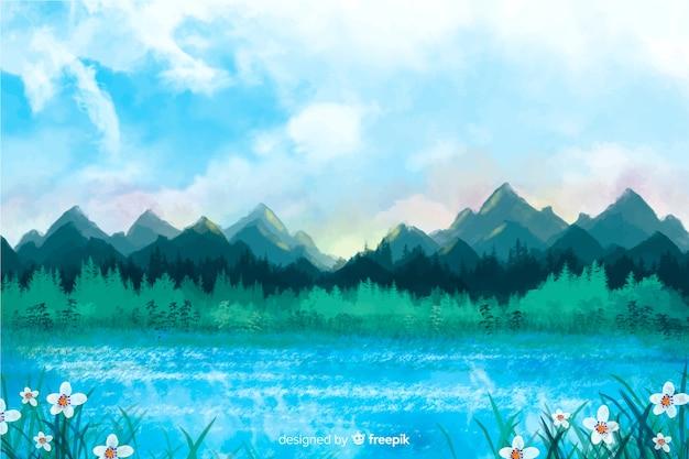 風景の水彩画の抽象的な背景 無料ベクター