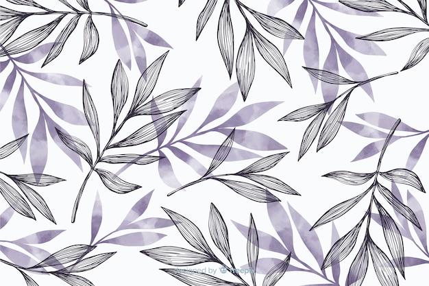 灰色の葉でシンプルな背景 無料ベクター