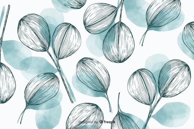 手描きの葉と自然の背景 無料ベクター
