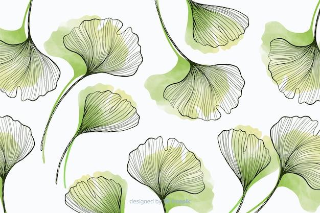 手描きの葉でシンプル背景 無料ベクター