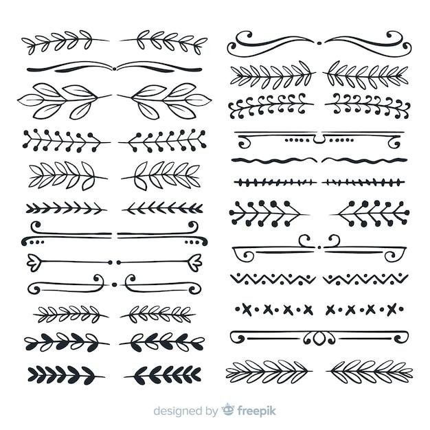 Коллекция рисованной декоративной перегородки Бесплатные векторы