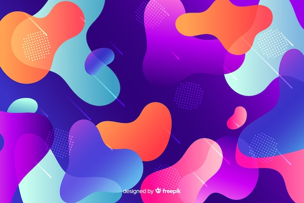 Красочный фон градиент жидкости формы Бесплатные векторы