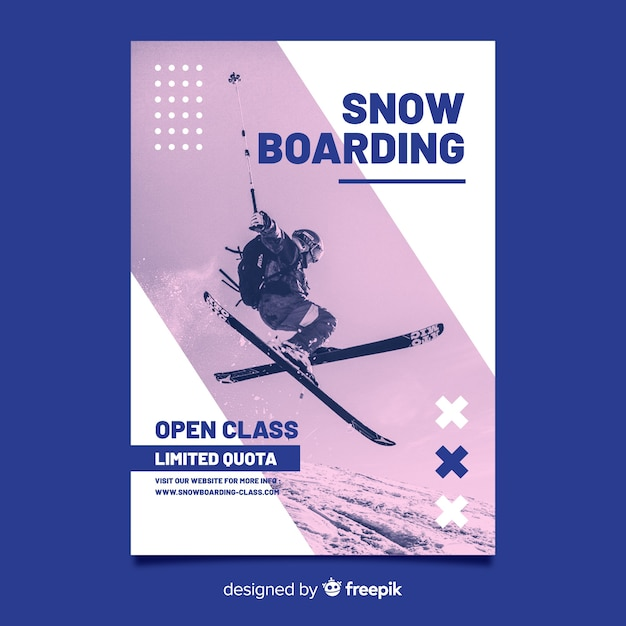 Мемфисский лыжный плакат с фотографией кьяроскуро Бесплатные векторы