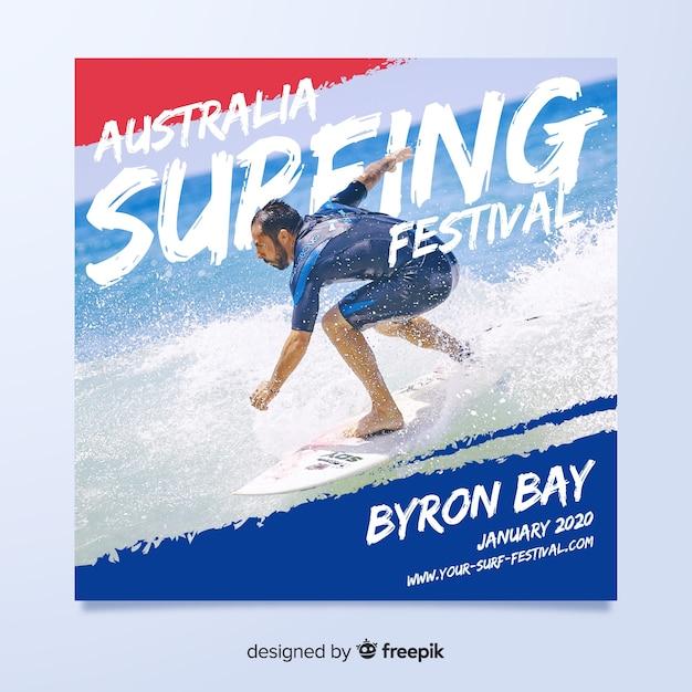 サーフィンフェスティバルのスポーツチラシ 無料ベクター
