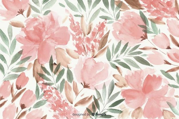 カラフルな水彩花の背景 無料ベクター