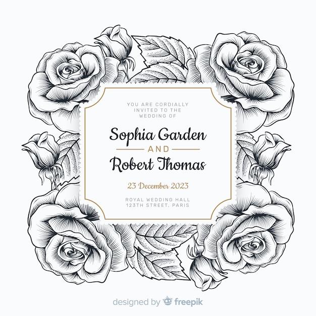 素敵な手描きのバラと結婚式の招待状 無料ベクター