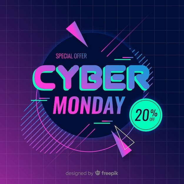 Ретро футуристический кибер понедельник фон Бесплатные векторы