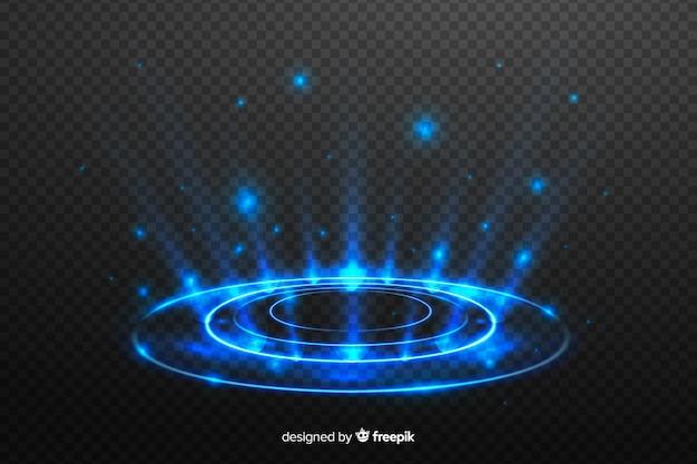 Световой портал эффект на темном фоне Бесплатные векторы