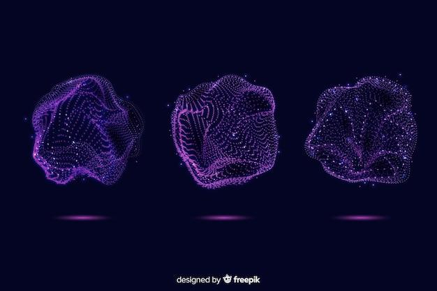 Абстрактная фиолетовая коллекция формы частиц Бесплатные векторы