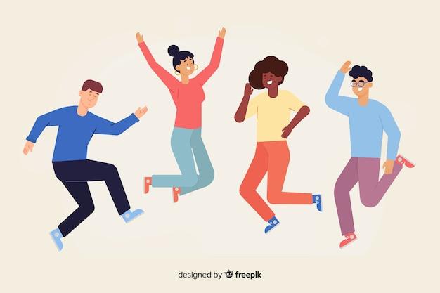 Молодые люди прыгают и веселятся Бесплатные векторы