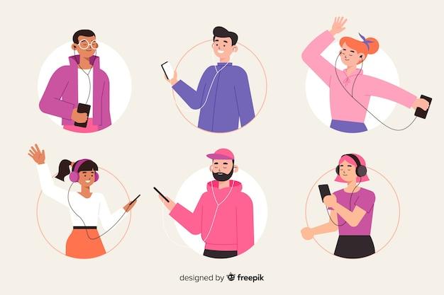 Иллюстрация тема с людьми, слушающими музыку Бесплатные векторы