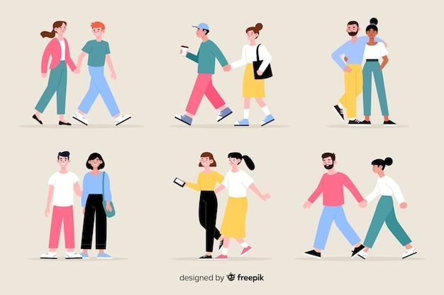 一緒にイラストを歩く若いカップル 無料ベクター