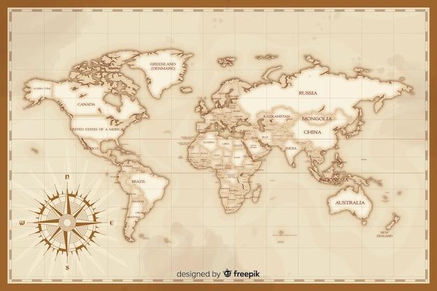 Художественная винтажная концепция рисования карты мира Бесплатные векторы