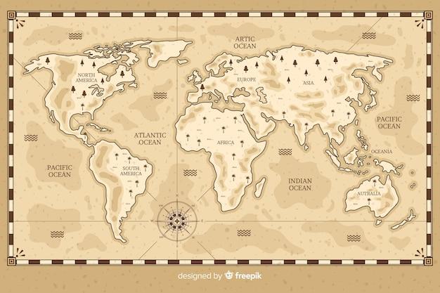 Рисунок карты мира в винтажном стиле Бесплатные векторы