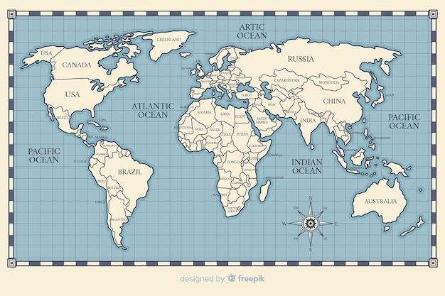 世界地図のビンテージテーマの描画 無料ベクター
