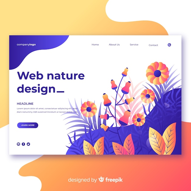 グラデーション自然ウェブデザイン 無料ベクター