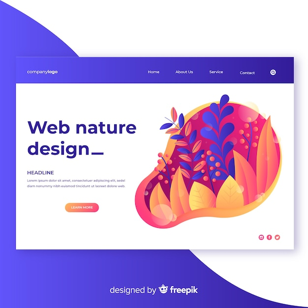 Градиентная природа веб дизайн Бесплатные векторы