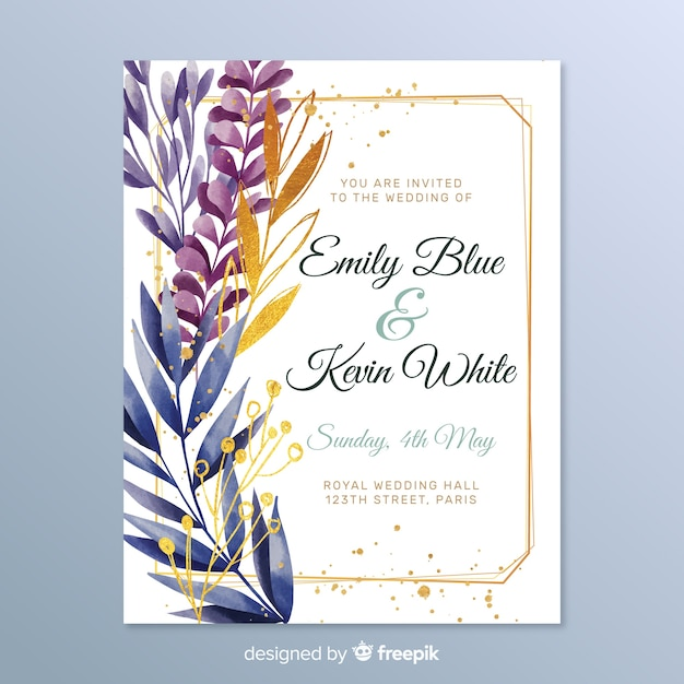 Элегантное свадебное приглашение с листьями Бесплатные векторы
